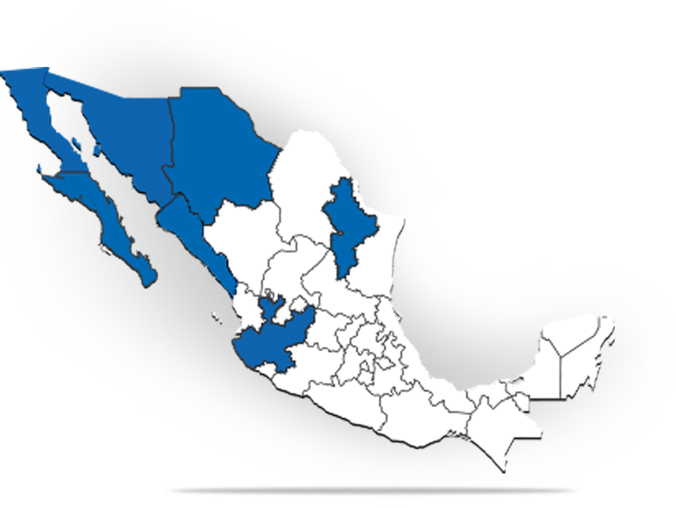 Map of Mexico with ARCO location states colored blue.