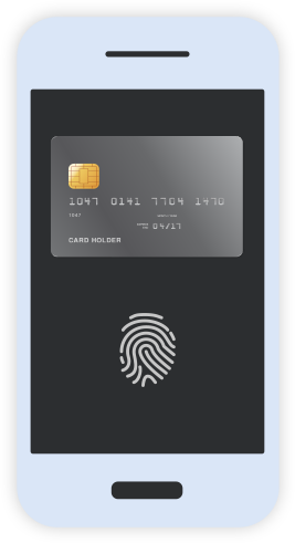 Credit card and thumbprint displayed on smartphone screen. Illustration.