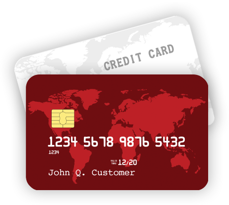 Red debit card in front of a gray credit card.