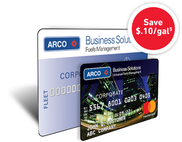 An ARCO Business Solutions card behind an ARCO Business Solutions Mastercard®.