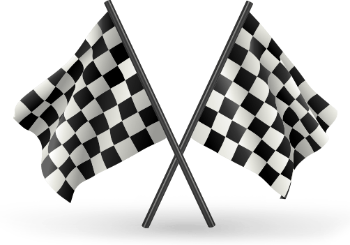 Two crossing black-and-white checkered race flags. Illustration.