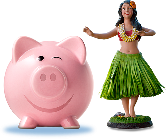 A winking piggy bank next to Hanna the Hula Girl.