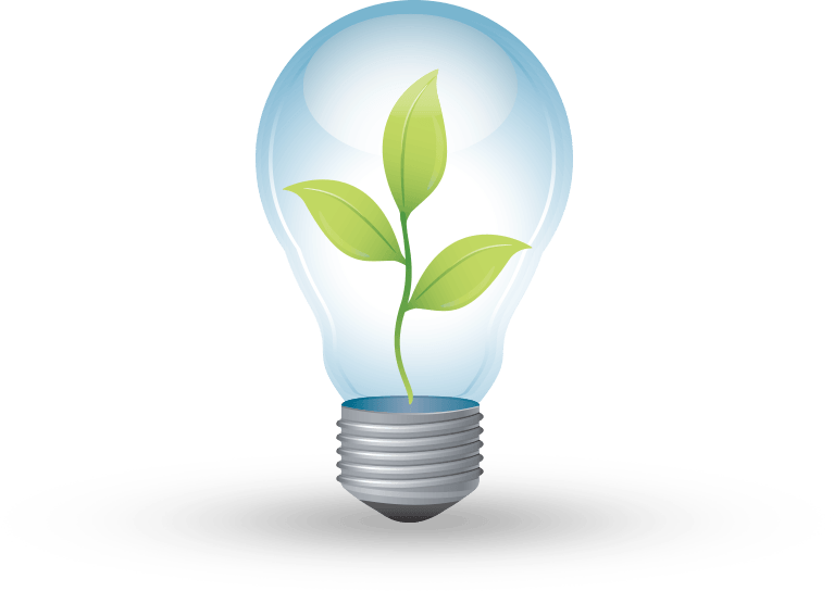 Energy-efficient light bulb with a growing plant inside. Illustration.