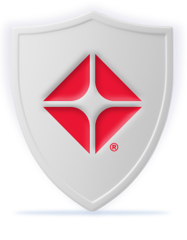 Protective white shield with red ARCO branding. Illustration.